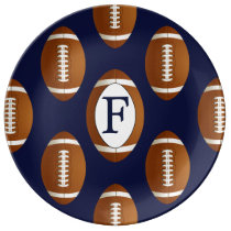 Personalized Monogram Football Balls Sports Dinner Plate