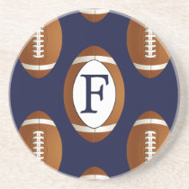 Personalized Monogram Football Balls Sports Drink Coaster
