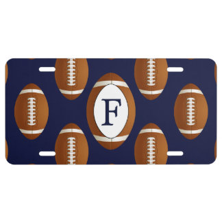 Personalized Monogram Football Balls Sports License Plate