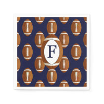 Personalized Monogram Football Balls Sports Paper Napkin