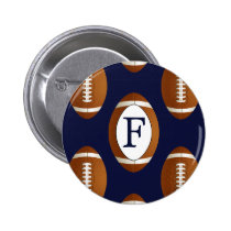 Personalized Monogram Football Balls Sports Pinback Button