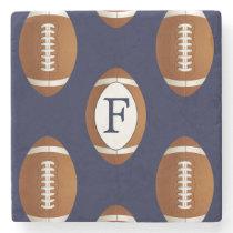 Personalized Monogram Football Balls Sports Stone Coaster