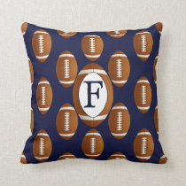 Personalized Monogram Football Balls Sports Throw Pillow