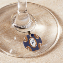 Personalized Monogram Football Balls Sports Wine Glass Charm