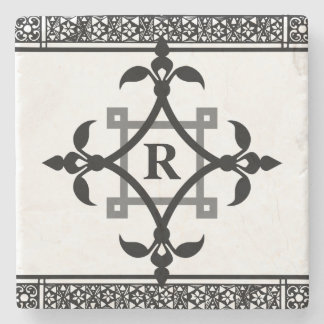 Personalized Monogram Formal Black Ornamental Stone Coaster