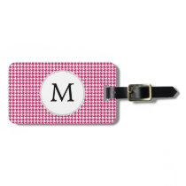 Personalized Monogram Fuchsia Houndstooth Pattern Bag Tag