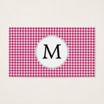 Personalized Monogram Fuchsia Houndstooth Pattern Business Card