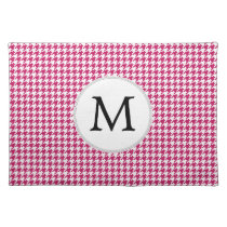 Personalized Monogram Fuchsia Houndstooth Pattern Cloth Placemat