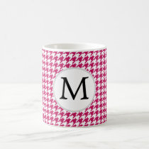 Personalized Monogram Fuchsia Houndstooth Pattern Coffee Mug