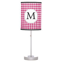 Personalized Monogram Fuchsia Houndstooth Pattern Desk Lamp