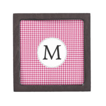 Personalized Monogram Fuchsia Houndstooth Pattern Gift Box