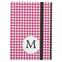 Personalized Monogram Fuchsia Houndstooth Pattern iPad Air Cover