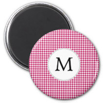 Personalized Monogram Fuchsia Houndstooth Pattern Magnet