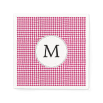 Personalized Monogram Fuchsia Houndstooth Pattern Paper Napkin