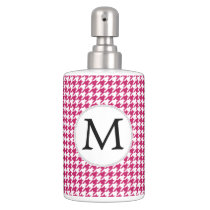 Personalized Monogram Fuchsia Houndstooth Pattern Soap Dispenser And Toothbrush Holder