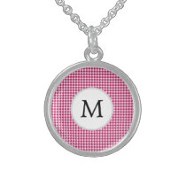 Personalized Monogram Fuchsia Houndstooth Pattern Sterling Silver Necklace