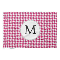 Personalized Monogram Fuchsia Houndstooth Pattern Towel