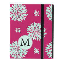 Personalized Monogram Fuchsia Pink Floral iPad Cover