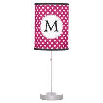 Personalized Monogram Fuchsia Polka Dots Pattern Desk Lamp