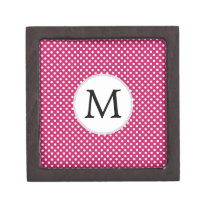 Personalized Monogram Fuchsia Polka Dots Pattern Gift Box