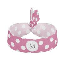 Personalized Monogram Fuchsia Polka Dots Pattern Hair Tie