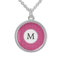 Personalized Monogram Fuchsia Polka Dots Pattern Sterling Silver Necklace