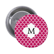 Personalized Monogram Fuchsia Quatrefoil Pattern Button
