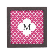 Personalized Monogram Fuchsia Quatrefoil Pattern Jewelry Box