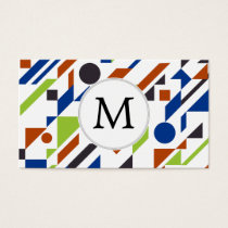 Personalized Monogram Fun Blue Green Geometric pat Business Card