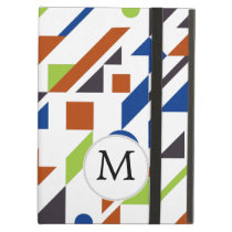 Personalized Monogram Fun Blue Green Geometric pat iPad Air Case
