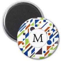 Personalized Monogram Fun Blue Green Geometric pat Magnet