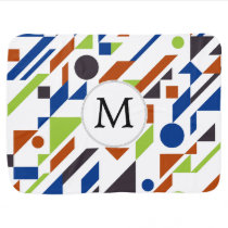 Personalized Monogram Fun Blue Green Geometric pat Swaddle Blanket