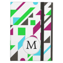 Personalized Monogram Fun Pink Geometric pattern iPad Air Covers