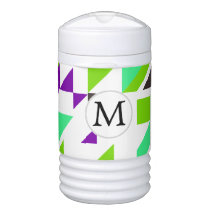 Personalized Monogram Fun Purple Green Geometric p Beverage Cooler