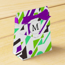 Personalized Monogram Fun Purple Green Geometric p Favor Box