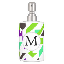 Personalized Monogram Fun Purple Green Geometric p Soap Dispenser & Toothbrush Holder