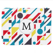 Personalized Monogram Fun Red Blue Geometric patte Baby Blanket