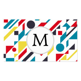 Personalized Monogram Fun Red Blue Geometric patte Double-Sided Standard Business Cards (Pack Of 100)