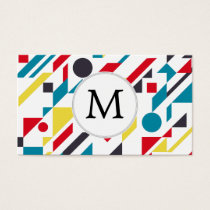 Personalized Monogram Fun Red Blue Geometric patte Business Card