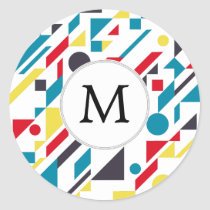 Personalized Monogram Fun Red Blue Geometric patte Classic Round Sticker