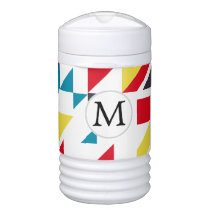 Personalized Monogram Fun Red Blue Geometric patte Cooler