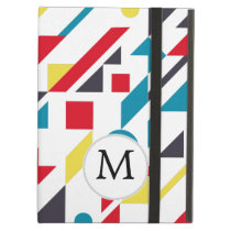 Personalized Monogram Fun Red Blue Geometric patte Cover For iPad Air