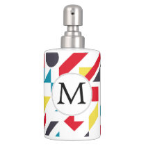 Personalized Monogram Fun Red Blue Geometric patte Soap Dispenser And Toothbrush Holder