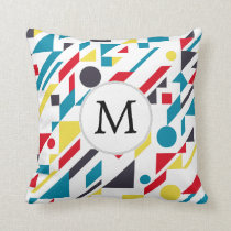 Personalized Monogram Fun Red Blue Geometric patte Throw Pillow