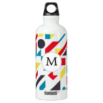 Personalized Monogram Fun Red Blue Geometric patte Water Bottle