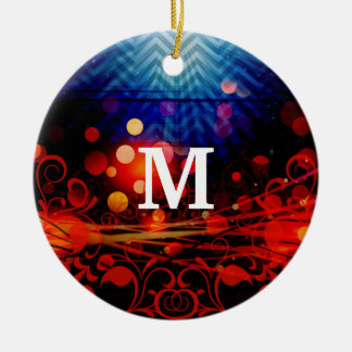 Personalized Monogram Funky Light Rays Abstract Ceramic Ornament