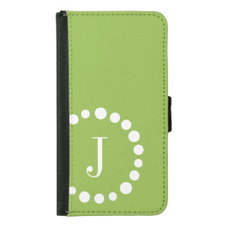 Personalized Monogram Galaxy s5 Wallet Case Green