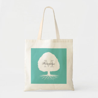 Personalized monogram genealogy tote bag with tree