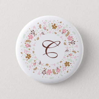 Personalized Monogram Girly Floral Wreath Pinback Button