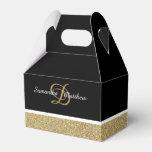 Personalized Monogram Glitter Gold Black Wedding Favor Box